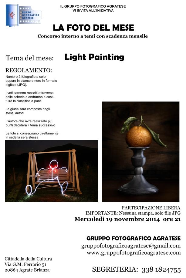 Layout Locandina Tema del mese light painting