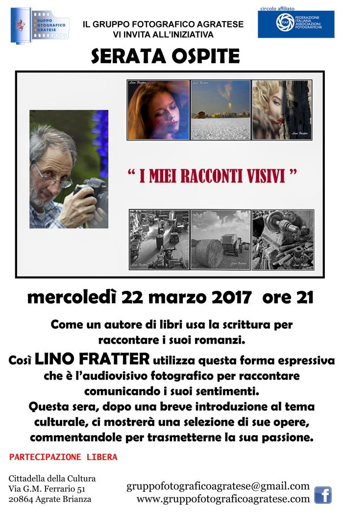 Layout Locandina serata ospite Lino Fratter 20x30