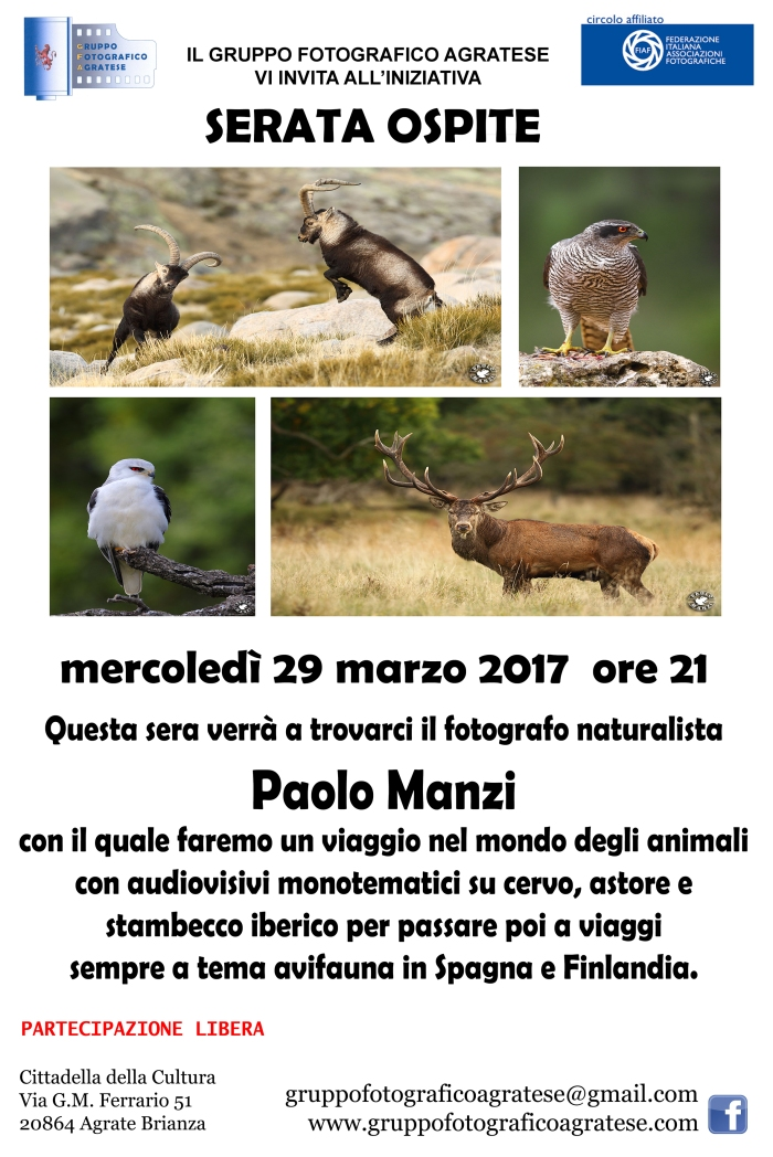 Layout Locandina serata ospite Paolo Manzi 20x30